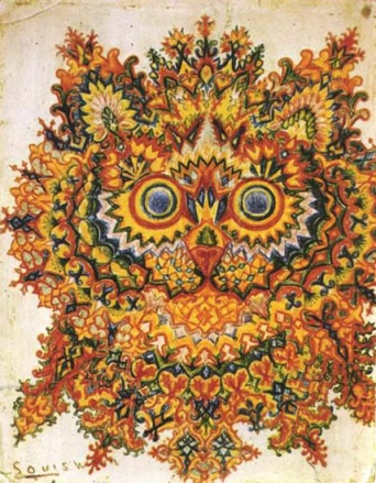 Painting of a cat by mental patient Louis Wain (1860-1939).